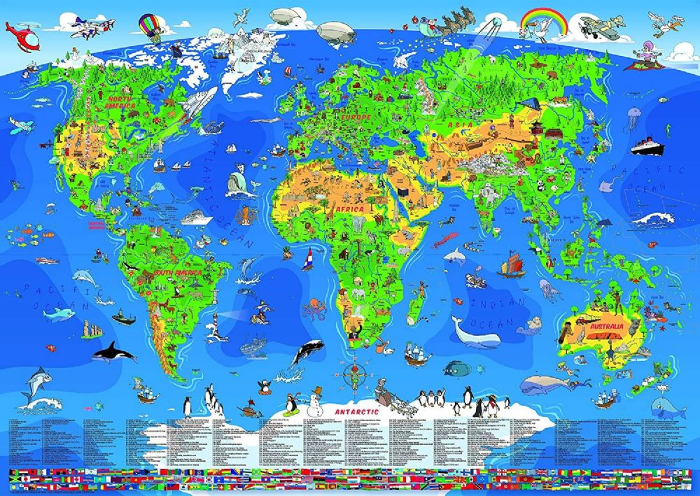 Kids Children Animal Bedroom Nursery Laminated World Wall Map 135cm x 95cm
